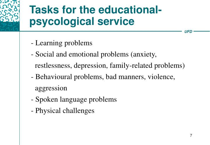 Tasks for the educational- psycological service