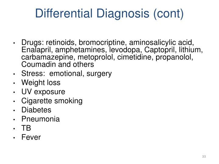 Differential Diagnosis (cont)