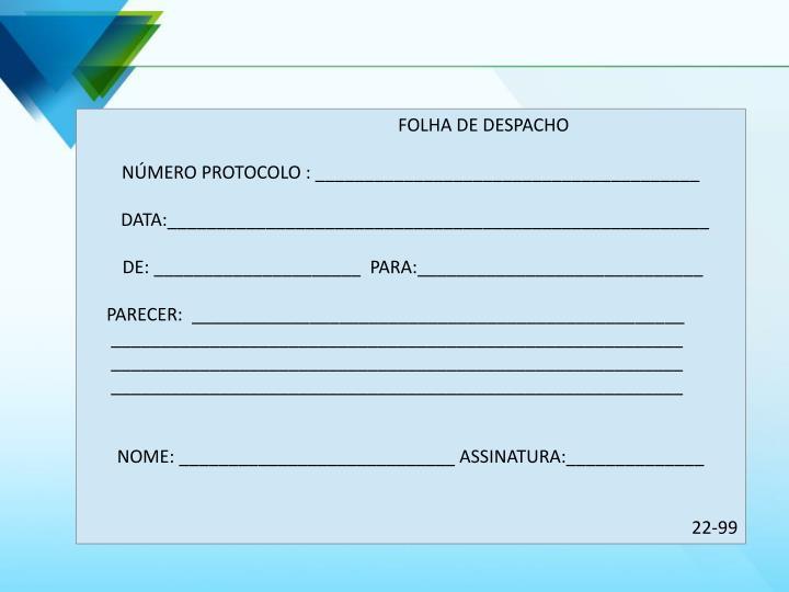FOLHA DE DESPACHO