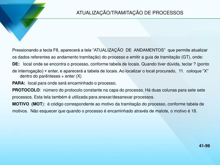 ATUALIZAÇÃO/TRAMITAÇÃO DE PROCESSOS