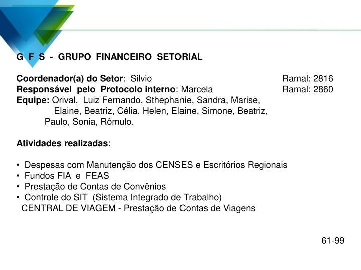 G  F  S  -  GRUPO  FINANCEIRO  SETORIAL