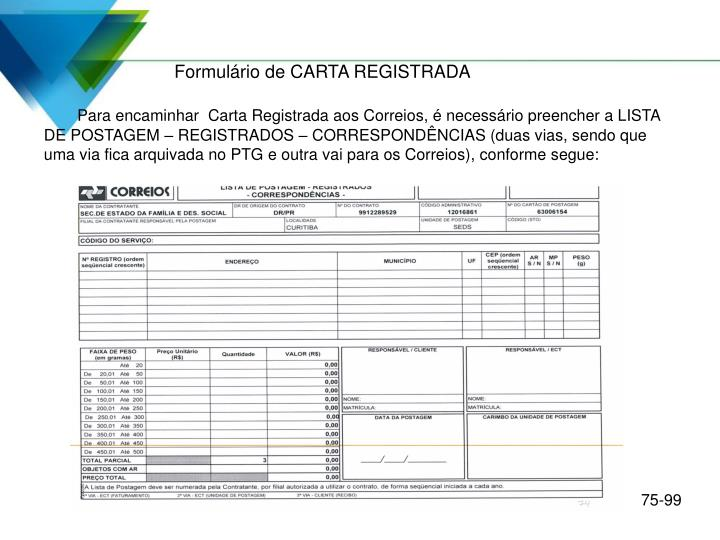 Formulário de CARTA REGISTRADA