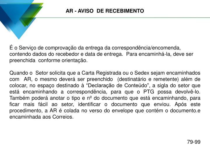 AR - AVISO  DE RECEBIMENTO