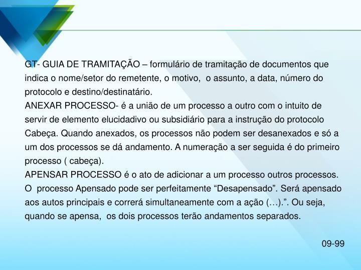 GT- GUIA DE TRAMITAÇÃO – formulário de tramitação de documentos que