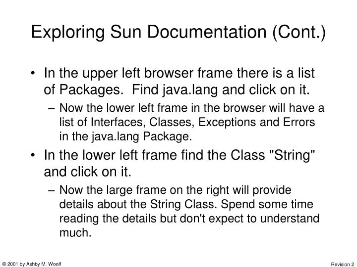 Exploring Sun Documentation (Cont.)