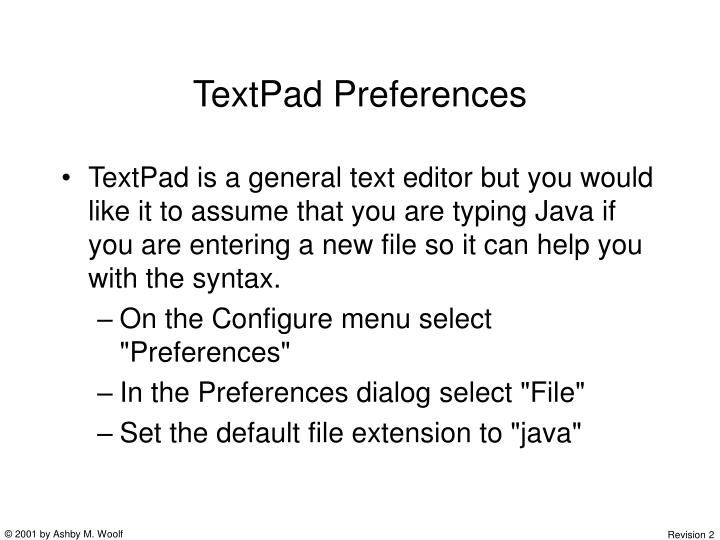 TextPad Preferences