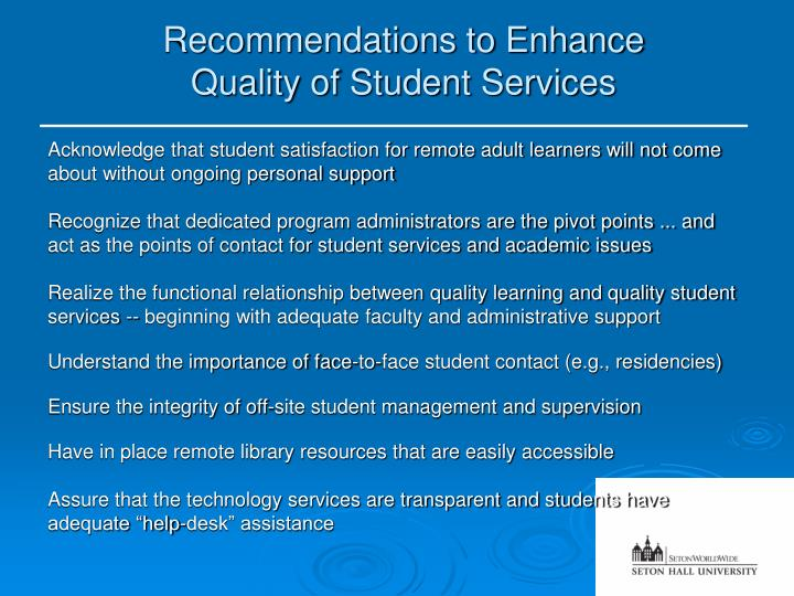 Recommendations to Enhance