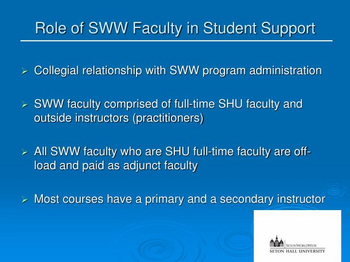Role of SWW Faculty in Student Support