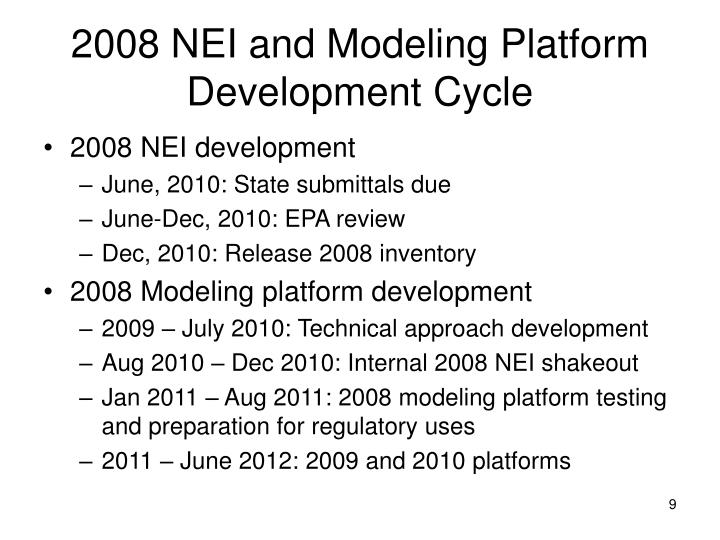2008 NEI and Modeling Platform Development Cycle