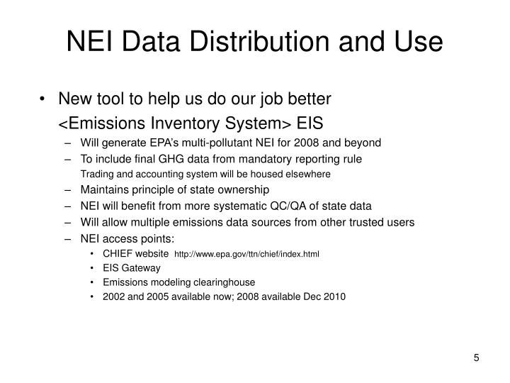 NEI Data Distribution and Use