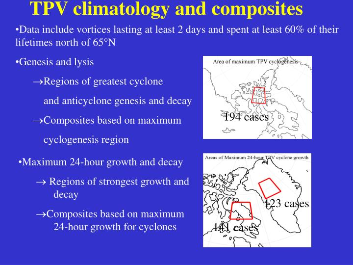 TPV climatology and composites