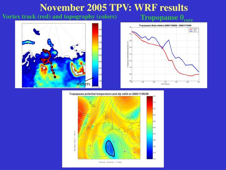 November 2005 TPV: WRF results