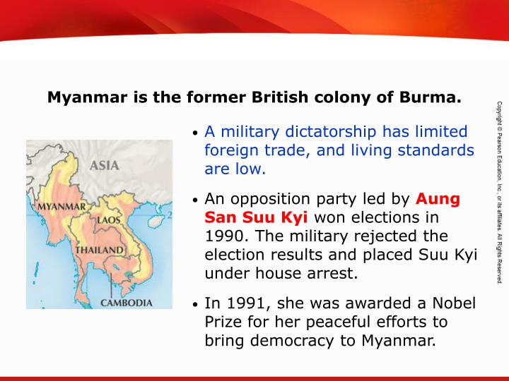 Myanmar is the former British colony of Burma.