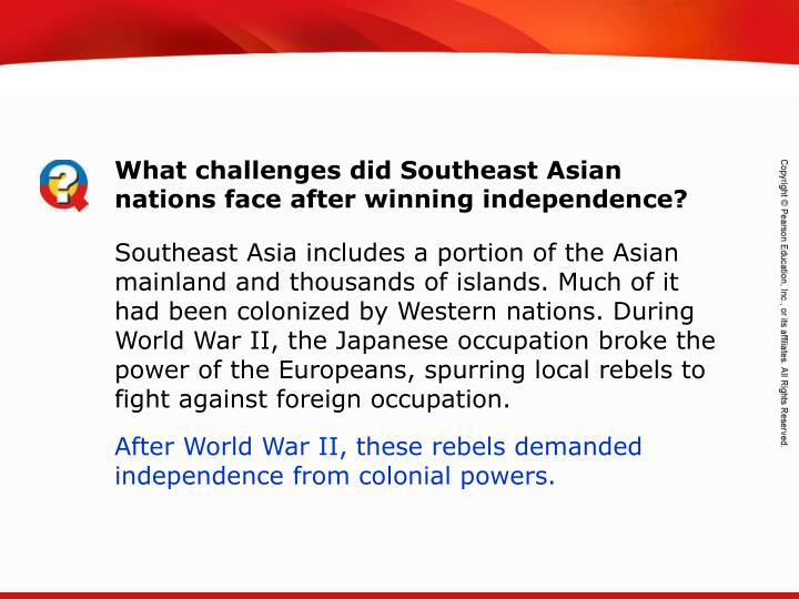 What challenges did Southeast Asian nations face after winning independence?