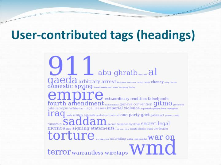 User-contributed tags (headings)