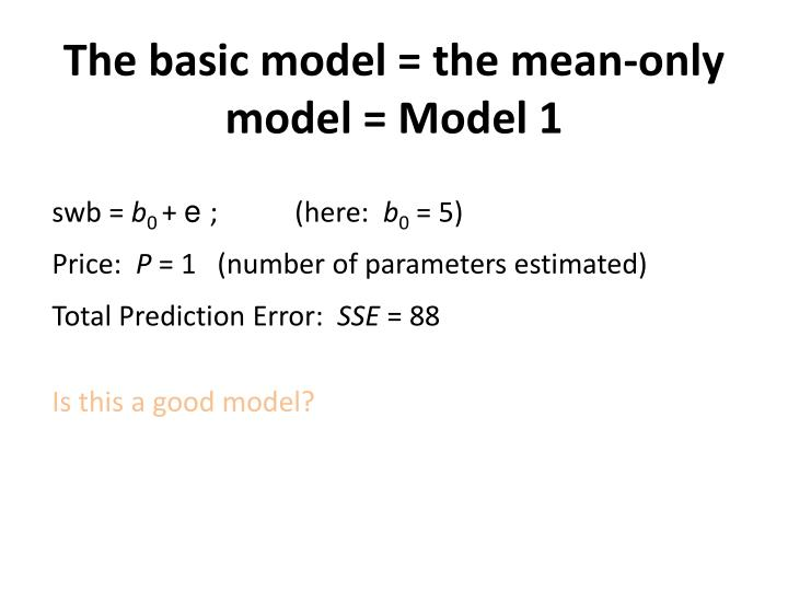 The basic model = the mean-only model = Model 1