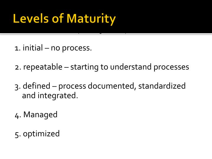 Levels of Maturity