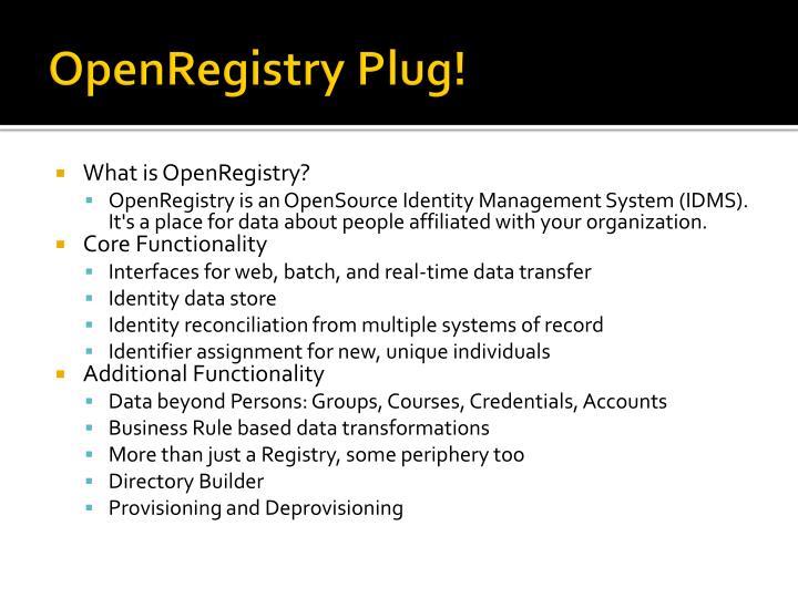 OpenRegistry Plug!