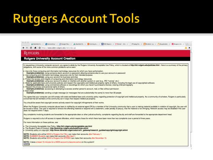 Rutgers Account Tools
