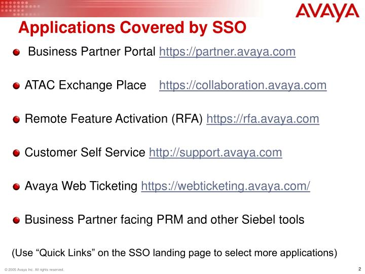 Applications Covered by SSO
