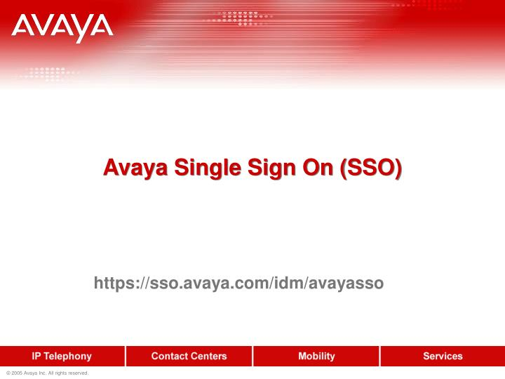 Avaya single sign on sso