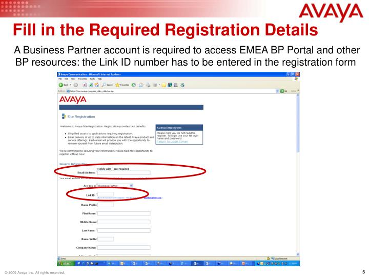 Fill in the Required Registration Details