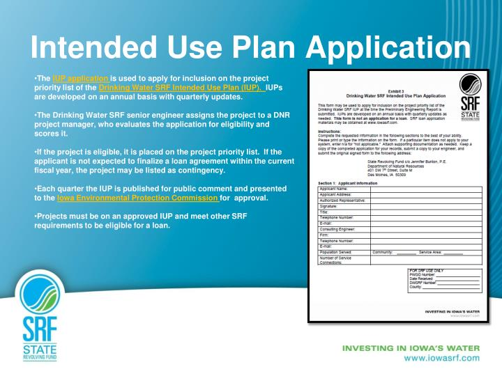 Intended Use Plan Application