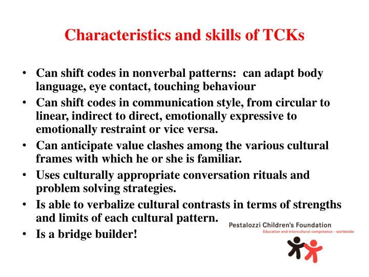 Characteristics and skills of TCKs