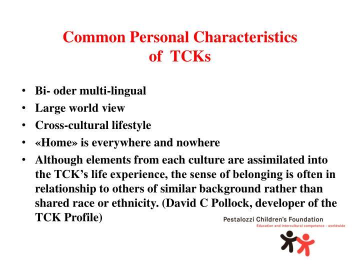 Common Personal Characteristics