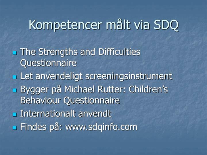 Kompetencer målt via SDQ