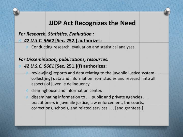 JJDP Act Recognizes the Need