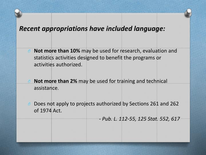 Recent appropriations have included language: