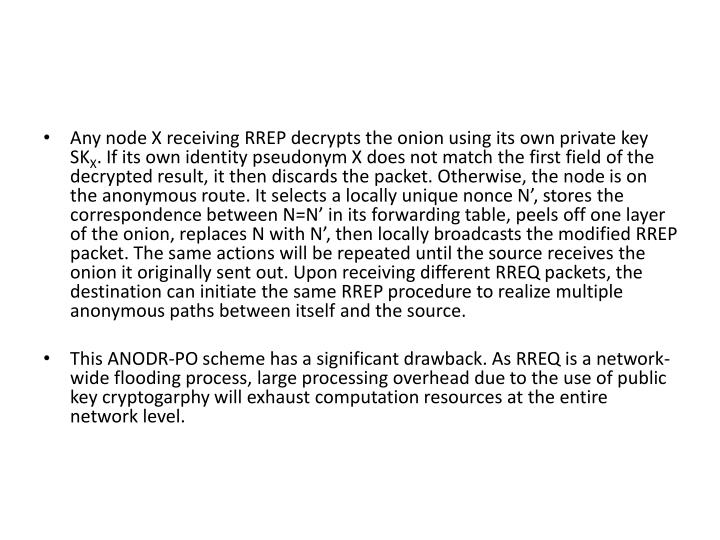 Any node X receiving RREP decrypts the onion using its own private key SK