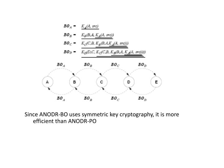 Since ANODR-BO uses symmetric key cryptography, it is more efficient than ANODR-PO