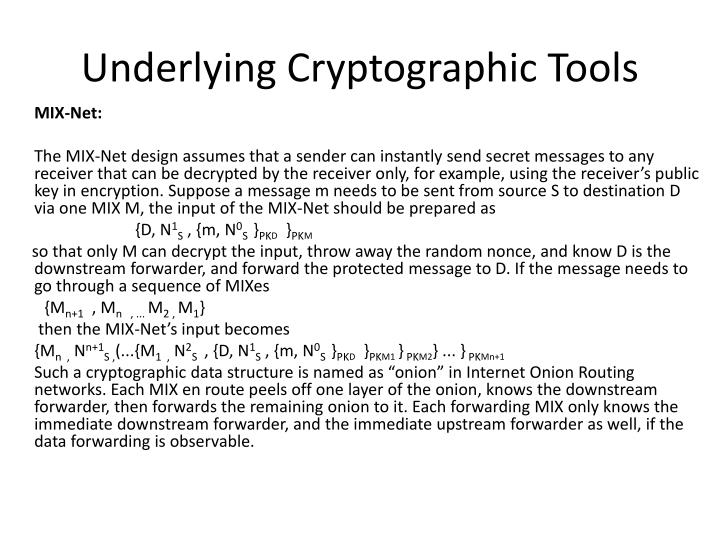 Underlying Cryptographic Tools