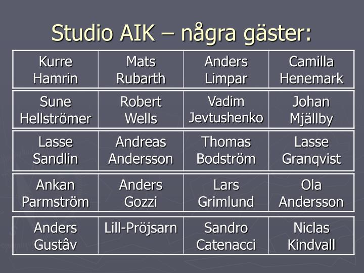 Studio AIK – några gäster: