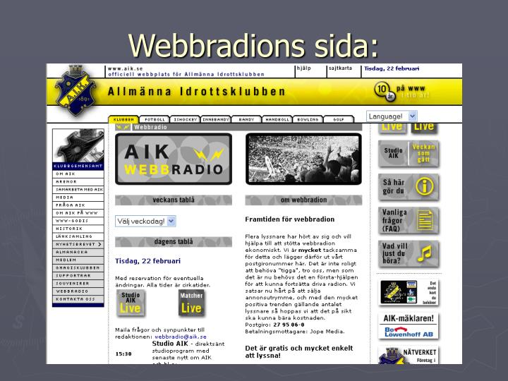 Webbradions sida: