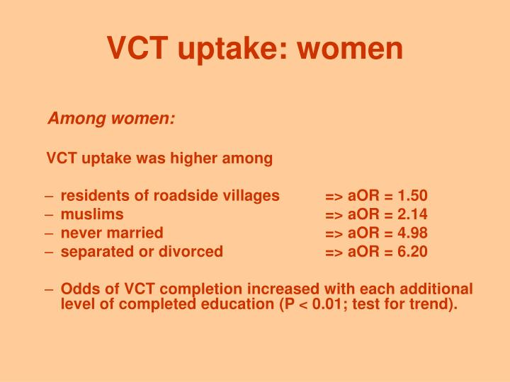 VCT uptake: women