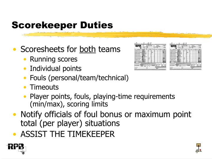 Scorekeeper Duties