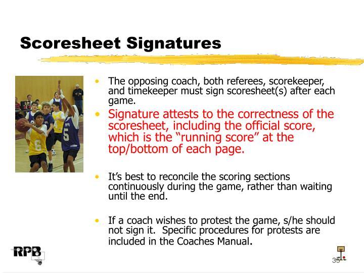 Scoresheet Signatures