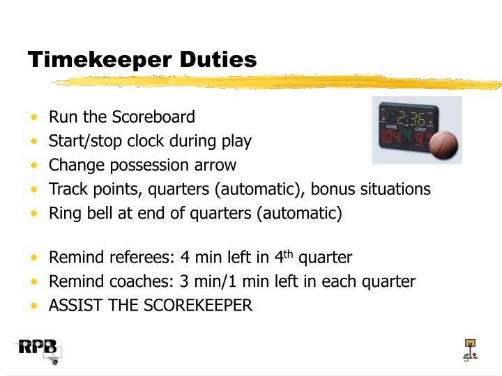 Timekeeper Duties