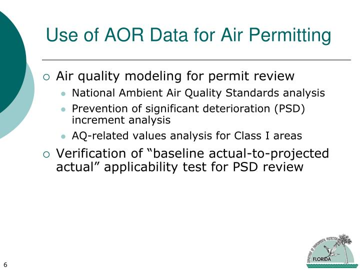 Use of AOR Data for Air Permitting