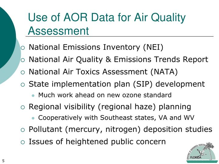 Use of AOR Data for Air Quality Assessment