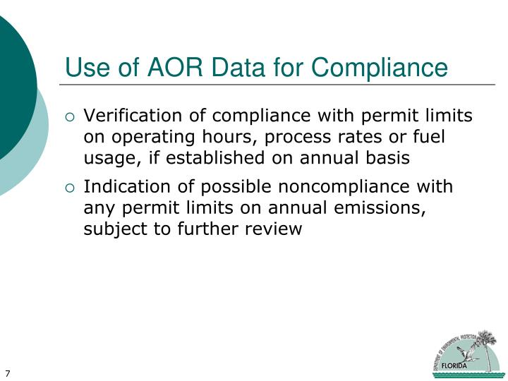 Use of AOR Data for Compliance