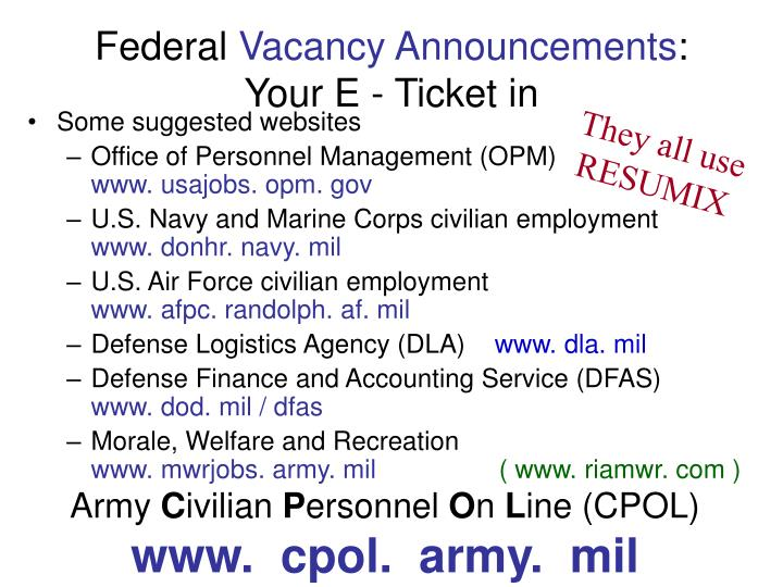 Federal vacancy announcements your e ticket in