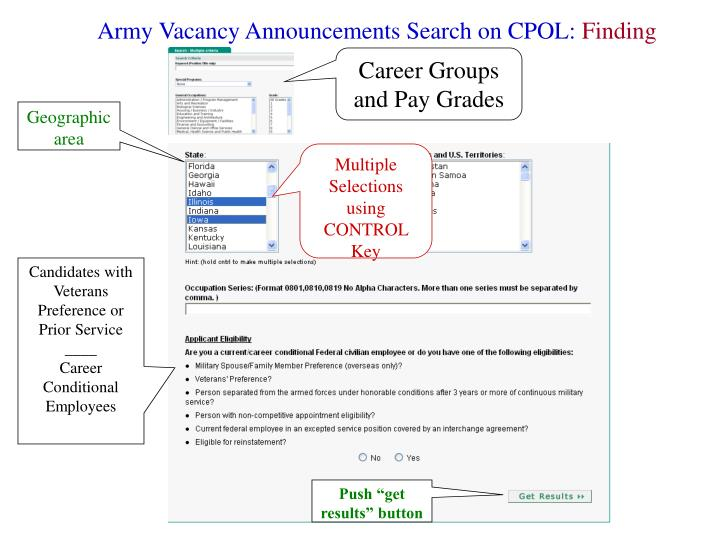 Army Vacancy Announcements Search on CPOL: