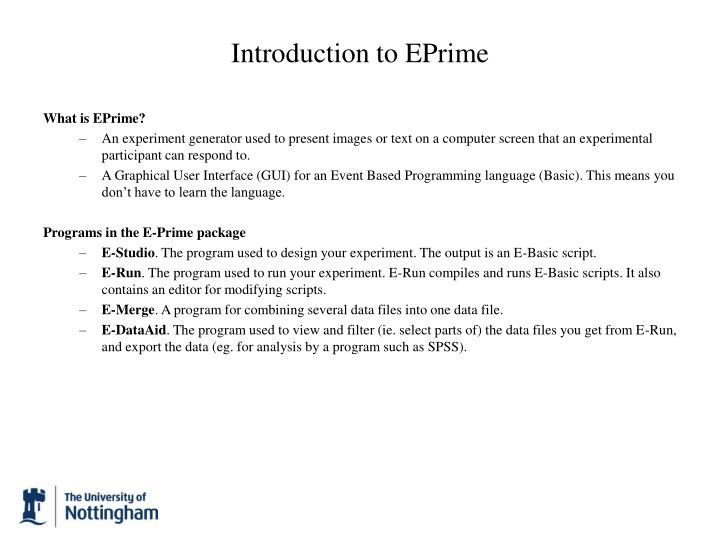 Introduction to EPrime
