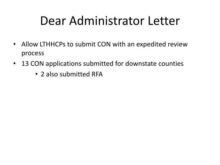 Dear Administrator Letter