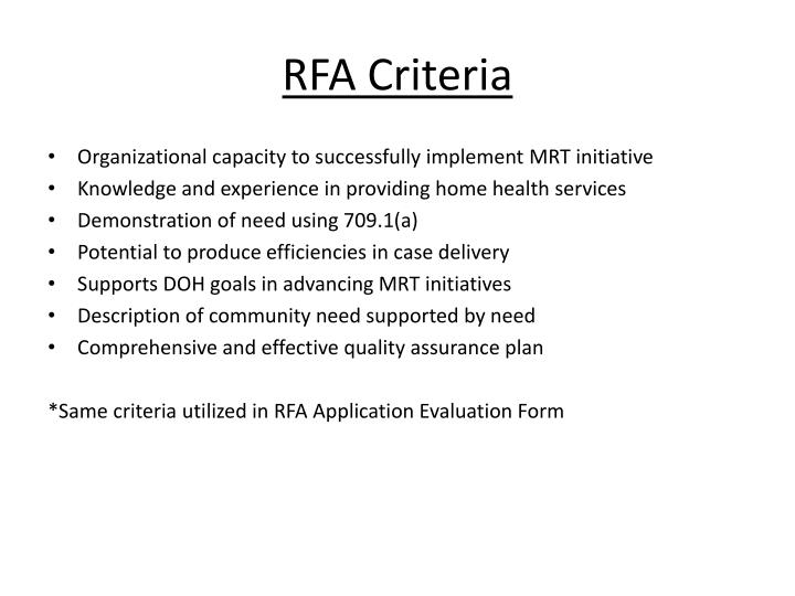 RFA Criteria