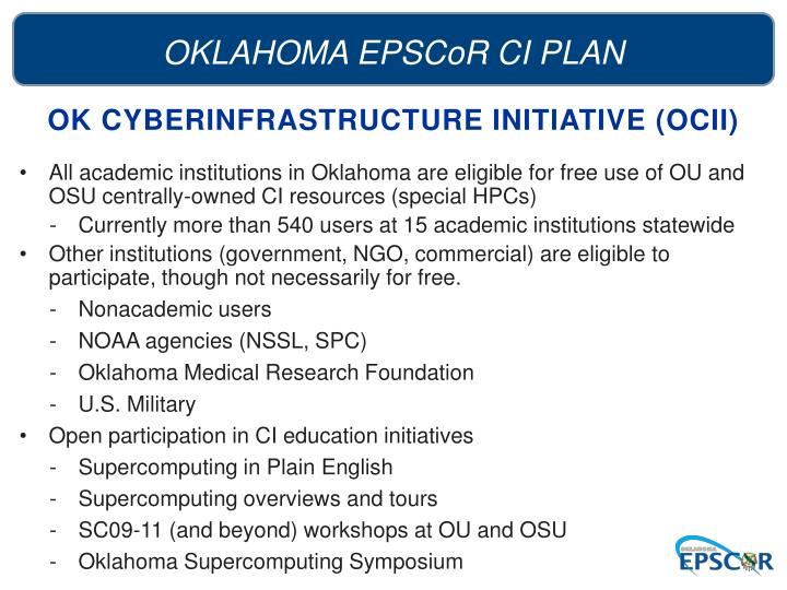 OK CYBERINFRASTRUCTURE INITIATIVE (OCII)